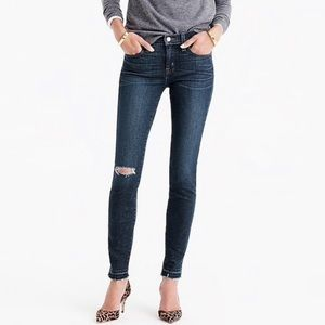 J. Crew distressed raw hem toothpick jeans sz30